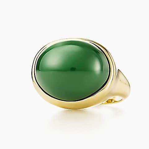 tiffany anello oro giada cabochon