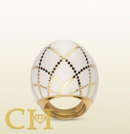 gioielli gucci diamantissima anello smalto oro