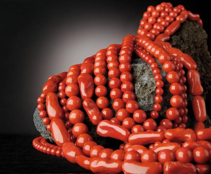 gioielli con corallo collane sferico barilotti