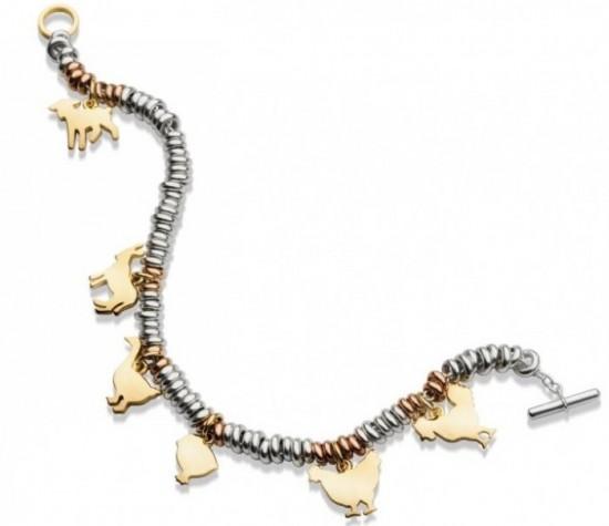 dodo gioielli pomellato bracciale ciondoli oro argento