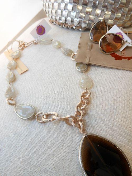 estrosia gioielli resina argento pietre perle collana orecchini anelli