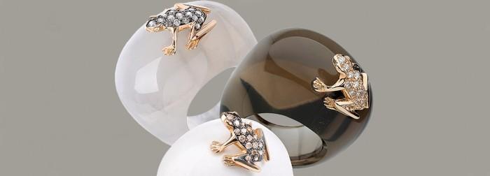 dada gioielli anelli happy frog oro pietre dure