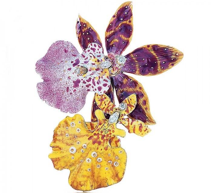 gioielli fiori tiffany spilla orchidea diamanti oro blue book