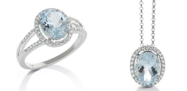 gioielli con acquamarina anello ciondolo diamanti
