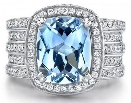gioielli con acquamarina anello fascia grande diamanti