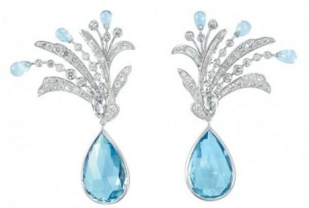 gioielli con acquamarina orecchini boucheron pendenti diamanti