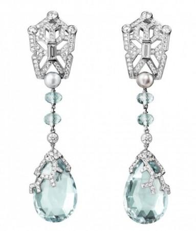 gioielli con acquamarina orecchini pendenti cartier diamanti