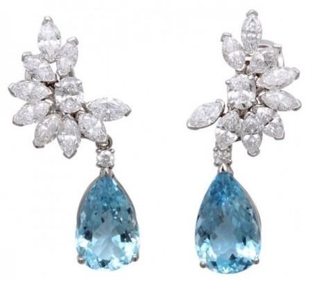 gioielli con acquamarina orecchini pendenti diamanti