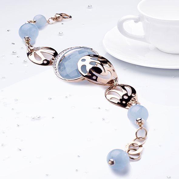 gioielli con acquamarina bracciale silvia kelly oro