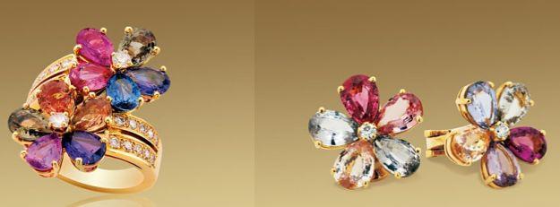 bulgari gioielli floreali sapphire flower orecchini anello