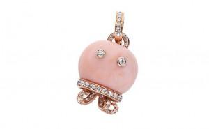 gioielli estivi marini chantecler polpo ciondolo corallo rosa diamanti oro