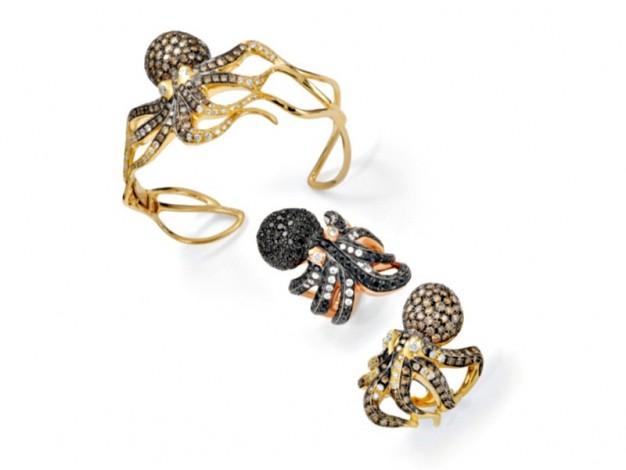gioielli estivi marini roberto coin octopus bracciale rigido oro giallo diamanti anelli