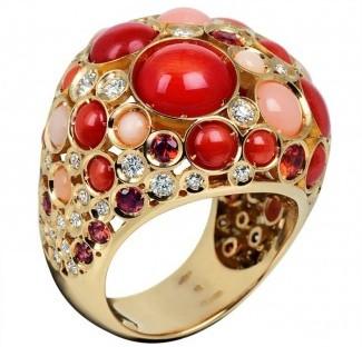 gioielli con corallo anello chantecler capri 1947 diamanti pelle angelo corallo rosso