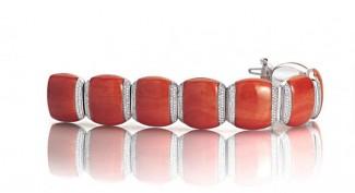 gioielli con corallo bracciale diamanti