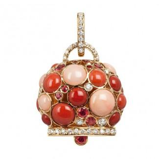 gioielli con corallo ciondolo campanella chantecler capri 1947 diamanti pelle angelo corallo rosso