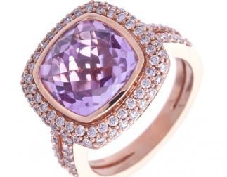 gioielli con ametista-anello-brillanti-e-oro-rosa