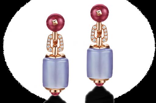 gioielli con calcedonio orecchini bulgari MSVA perle rubeliti oro rosa