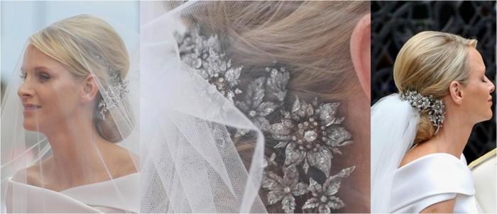 gioielli matrimoni reali charlene matrimonio alberto monaco spilla fermaglio gioiello chignon diamanti