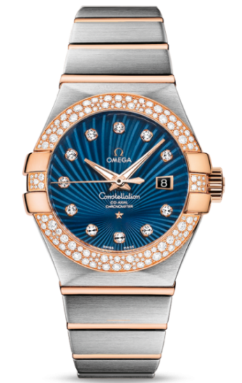 orologi omega da donna constellation co-axial diamanti oro quadrante blu