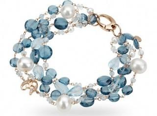 gioielli con topazio bracciale topazio london azzurro e diamante e perle
