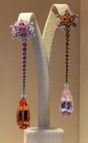 gioielli con topazio chopard orecchini pendenti diamanti topazi rosa e pesca-arancione