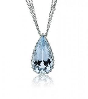 consigli gioielli di natale idee regalo ciondolo acquamarina diamanti oro bianco collana