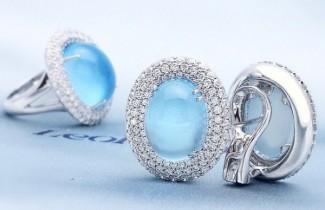 gioielli con topazio leo pizzo anello orecchini topazio azzurro cabochon diamanti