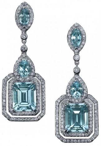 gioielli con topazioorecchini deco topazi azzurri diamanti