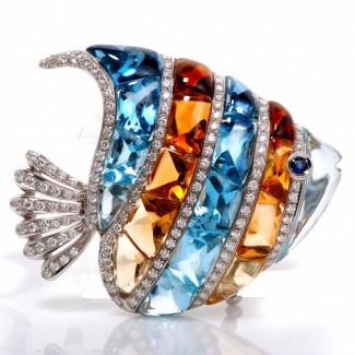 gioielli con topazio spilla con diamanti topazio e citrino