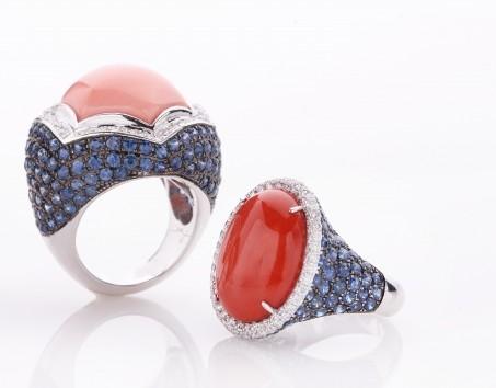 anello al mignolo chevalier corallo zaffiri brillanti de simone gioielli oro bianco