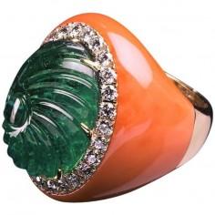 anello al mignolo chevalier corallo smeraldo diamanti oro gioielli