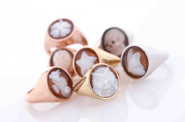 anello al mignolo chevalier cammeo oro argento rovian