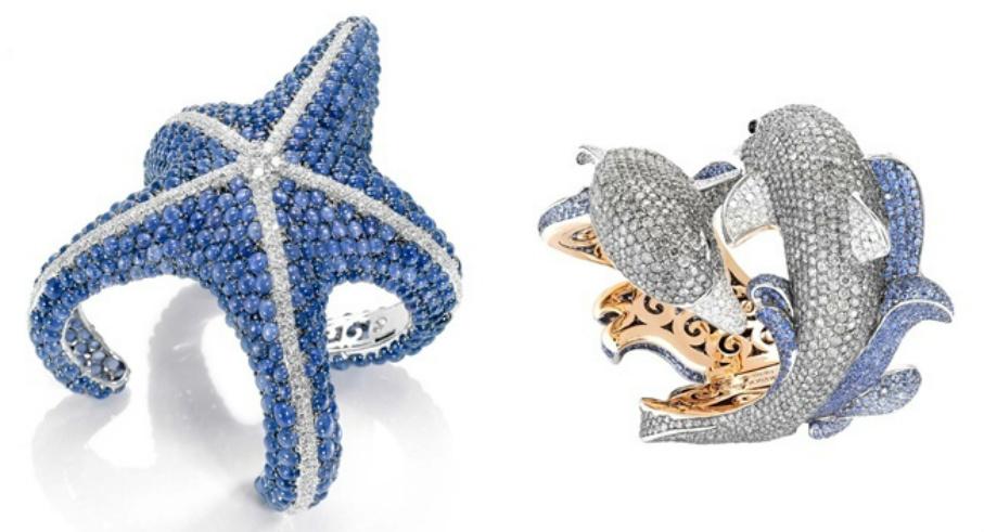 gioielli estivi marini de grisogono anello stella marina diamanti zaffiri bracciale delfino oro